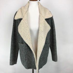 Zara knit faux Sherpa collar wool blend jacket S